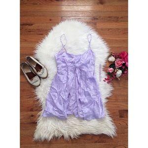 🌿 Vtg 90's Lavender Floral Silk Babydoll Lingerie